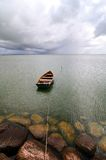 Lonely boat. On the lake Royalty Free Stock Images
