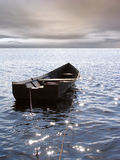 Lonely boat. Boat, sea and horison, sky, heaven royalty free stock photo
