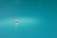 Lonely boat. Lonely boat at Bled lake, Slovenia Royalty Free Stock Image