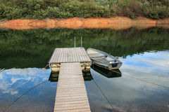 Lonely Boat. Boat in a small pier in Dornes. portugal Royalty Free Stock Photography