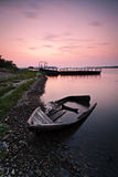 Lonely boat on the bank. Of volga river Stock Photos