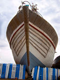 Lonely boat closeup standing. On the shore Royalty Free Stock Images