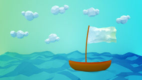 Lonely Boat Greeting Card. Greeting card with a boat drifting on the sea. Lowpoly art Royalty Free Stock Photos