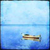 Lonely boat with grunge texture stock image