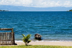Lonely Boat on Lake Tanganyika Stock Photos