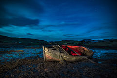 Lonely boat at night Royalty Free Stock Photography