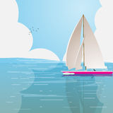 Lonely boat in the ocean. On a background of clouds. Vector illustration Royalty Free Stock Photo