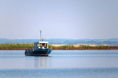 Lonely boat in the old abandoned airharbor Royalty Free Stock Photography