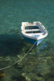 Lonely boat on the sea. Small fishing boat in the Aegean Sea Stock Photography