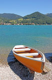 Lonely boat at the seaside of bavarian lake tegernsee Royalty Free Stock Photo