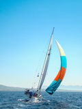 Lonely boat. Single boat trying to catch the wind Stock Images