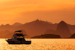 Lonely Boat by Sunset Royalty Free Stock Photos