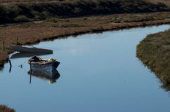 Lonely boats stock photography