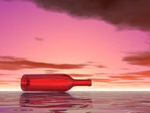 Lonely bottle in water Stock Photos