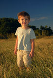 Lonely boy in the field. Lonely boy standing in the sunset light Stock Image