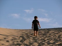Lonely boy trekking in the dunes Royalty Free Stock Photos