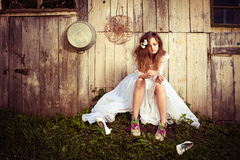 Lonely bride at one with their life problems. Royalty Free Stock Photo