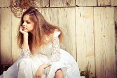 Lonely bride at one with their life problems. Royalty Free Stock Images