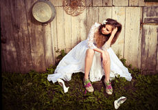 Lonely bride at one with their life problems. Royalty Free Stock Image