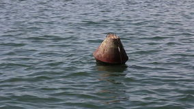 Lonely buoy in the wide sea. stock video