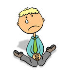 Lonely businessman. A cute cartoon business man crying on his knees Royalty Free Stock Photo