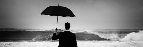 Lonely Businessman Alone Anxiety Beach Concept Royalty Free Stock Image