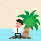 Lonely businessman on the small island. Vector cartoon of Lonely businessman on the small island Royalty Free Stock Images