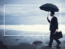 Lonely Businessman Walking Beach Depression Concept Royalty Free Stock Images