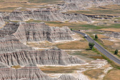 Lonely Campervan in Badlands National Park, South Dakota, USA Royalty Free Stock Photography