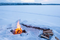 Lonely campfire. Campfire burning in winter landscape royalty free stock images