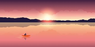 Free Lonely Canoeing Adventure With Orange Boat At Sunrise On The Lake Royalty Free Stock Photography - 151598157