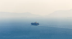 Lonely Cargo Container Ship Royalty Free Stock Photography