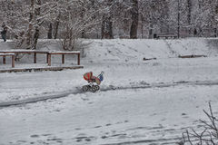 Lonely carriage on snow. Lonely red carriage on snow Stock Images