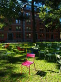 Lonely chair in harvard courtyard. Lonely chair in harvard  courtyard Stock Images