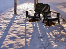 Lonely Chairs. Two lawn chairs in the snow Royalty Free Stock Photography