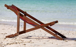 Сhaise lounge on a beach Stock Photos