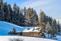 Lonely Chalet in Switzerland. Near Saanenmöser during winter Royalty Free Stock Image
