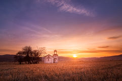 Lonely chapel. In Bulgaria. Beautiful sunset Stock Photo