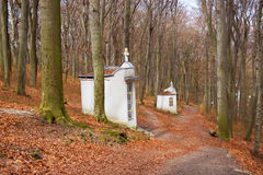 Lonely Chapels in Forest. Christian Chapels on Calvary in Forest Royalty Free Stock Photo