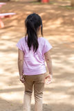 Lonely Child in Playground from Back View Royalty Free Stock Photography