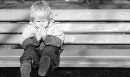 Lonely child sits on a bench. And eats bread Royalty Free Stock Images