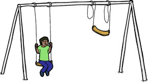 Lonely Child on Swing Set Royalty Free Stock Images