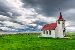 Lonely church on the coast in Iceland. In summer Stock Image
