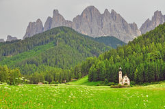Lonely church in Dolomites Royalty Free Stock Photography