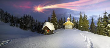 Lonely church in the wild mountains. Stock Image