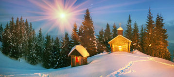Lonely church in the wild mountains. Royalty Free Stock Photo