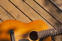 A lonely classical acoustic guitar stock photos