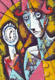 Lonely clown with pocket watch. Original watercolor illustration by Eugene Ivanov Stock Photo