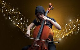 Lonely composer playing on cello royalty free stock photos