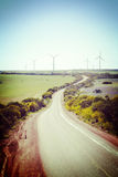 Lonely Country Road and Wind Farm Western Australia Stock Photos